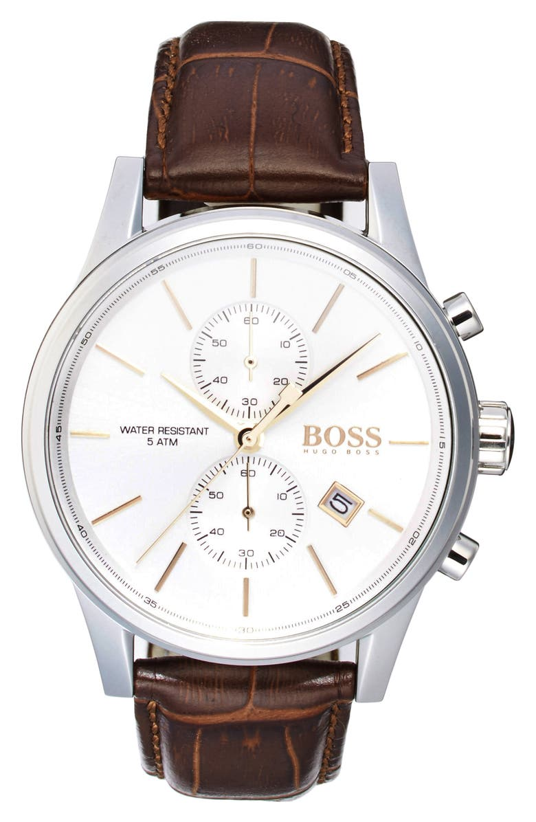 BOSS 'Jet Sport' Chronograph Leather Strap Watch, 41mm, Main, color, 200