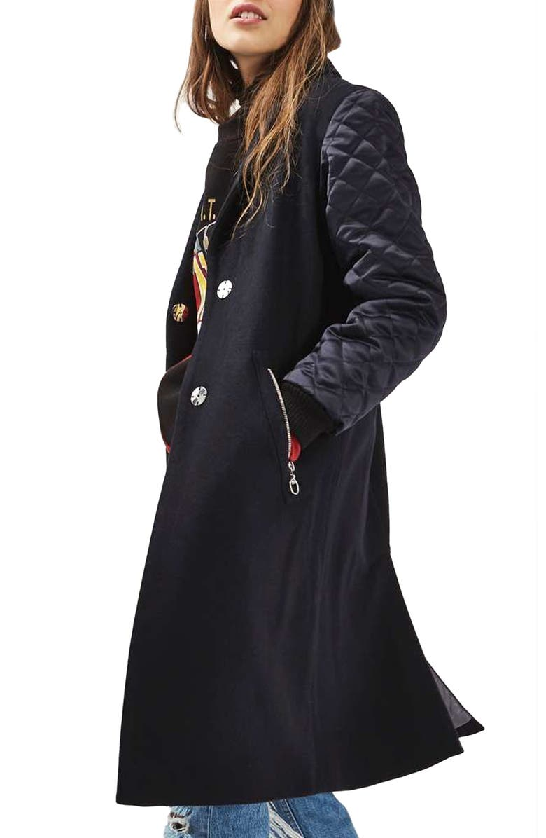 TOPSHOP Quilted Sleeve Wool Blend Coat, Main, color, 410