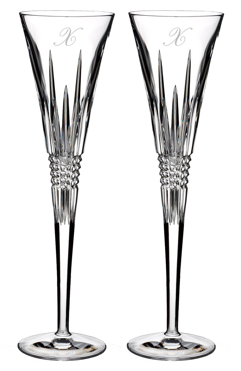 WATERFORD Lismore Diamond Set of 2 Monogram Lead Crystal Champagne Flutes, Main, color, CLEAR - X