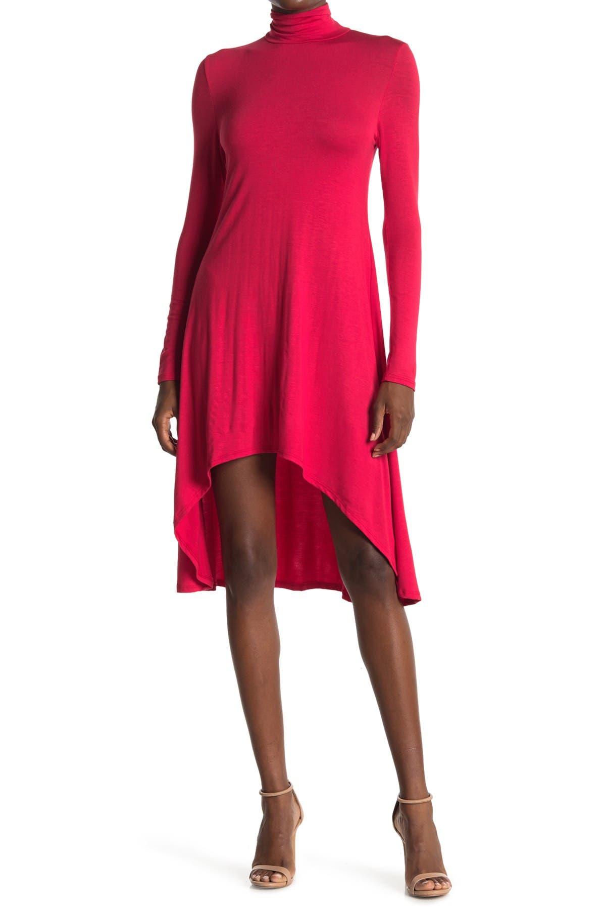 Image of Velvet Torch Mock Neck High/Low Hem Skater Dress