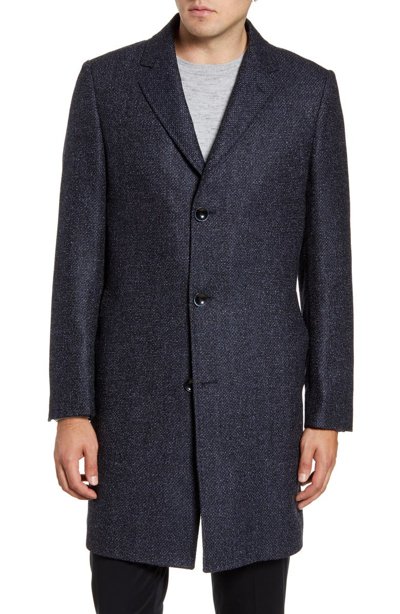 NORDSTROM SIGNATURE Darien Trim Fit Solid Wool Blend Overcoat, Main, color, NAVY BLAZER MICRO CHECK