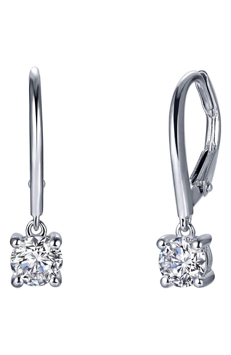 LAFONN Simulated Diamond Drop Earrings, Main, color, CLEAR/ SILVER