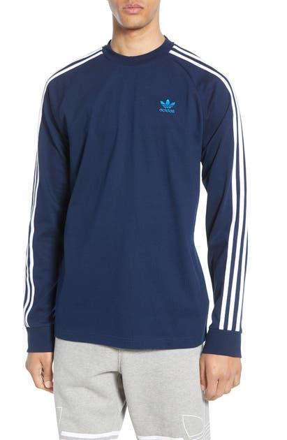 Adidas Originals 3-stripes Long Sleeve T-shirt In Collegiate Navy ...