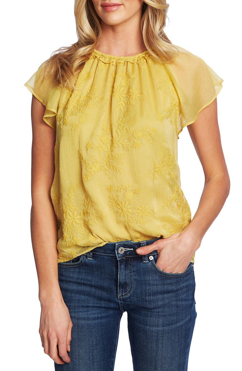 CECE Ruffled Embroidered Top, Main, color, GOLDEN KIWI