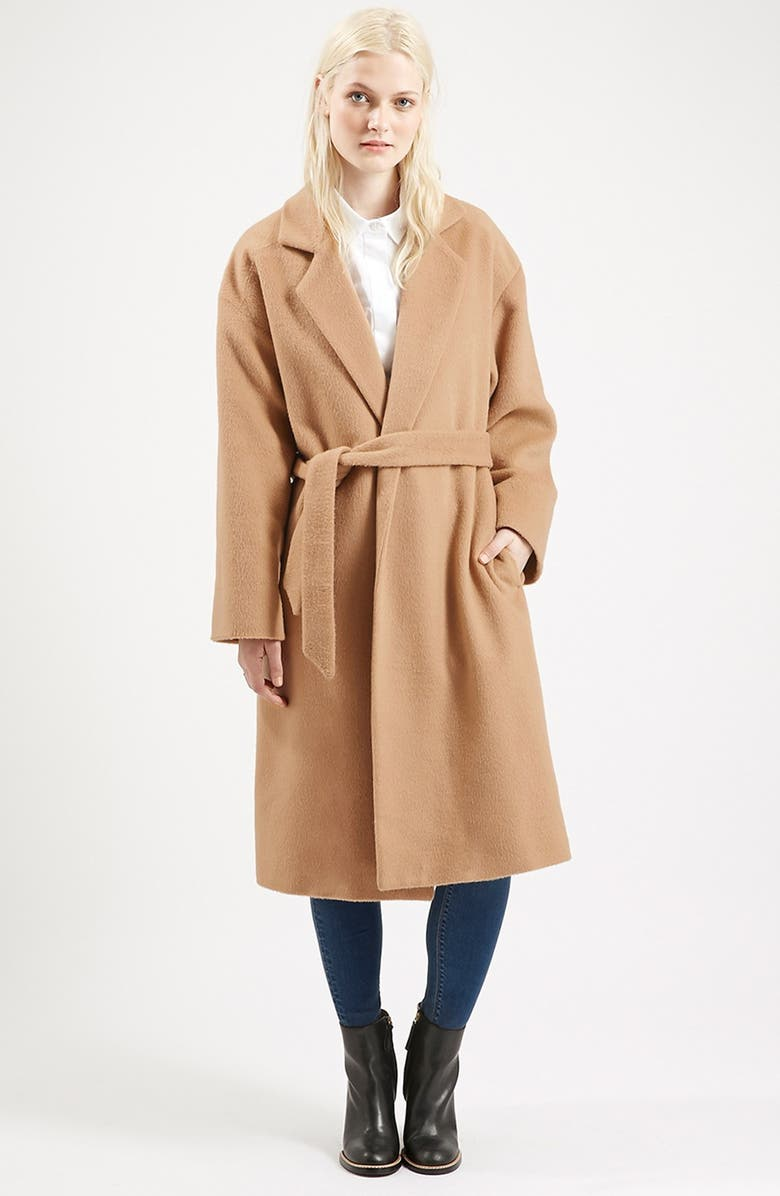 TOPSHOP Long Belted Coat, Main, color, 252