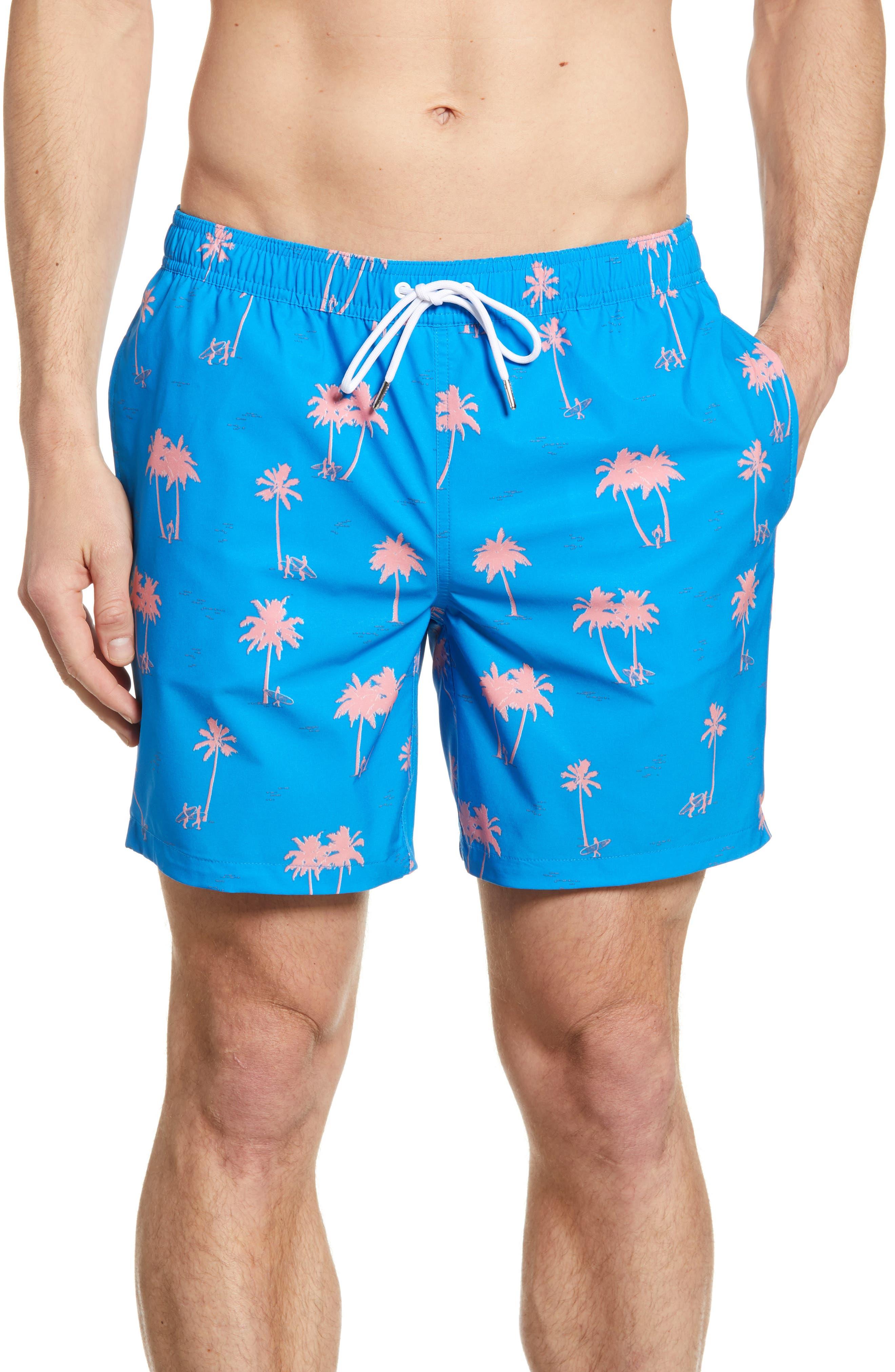 Bonobos E-Waist Palm Print 7-Inch Swim Trunks, Blue