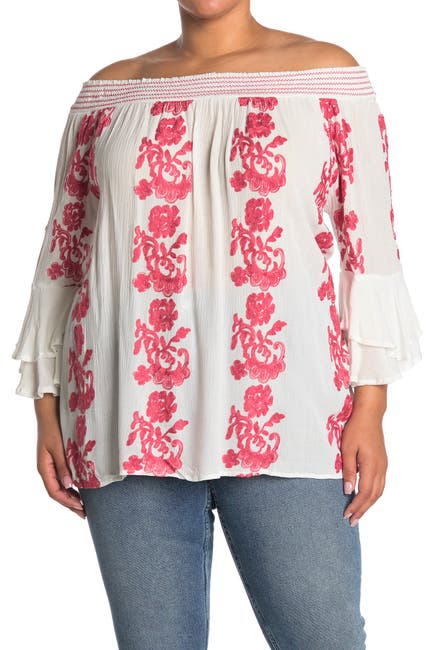 Image of Forgotten Grace Roller Embroidered Print Off-the-Shoulder Peasant Blouse