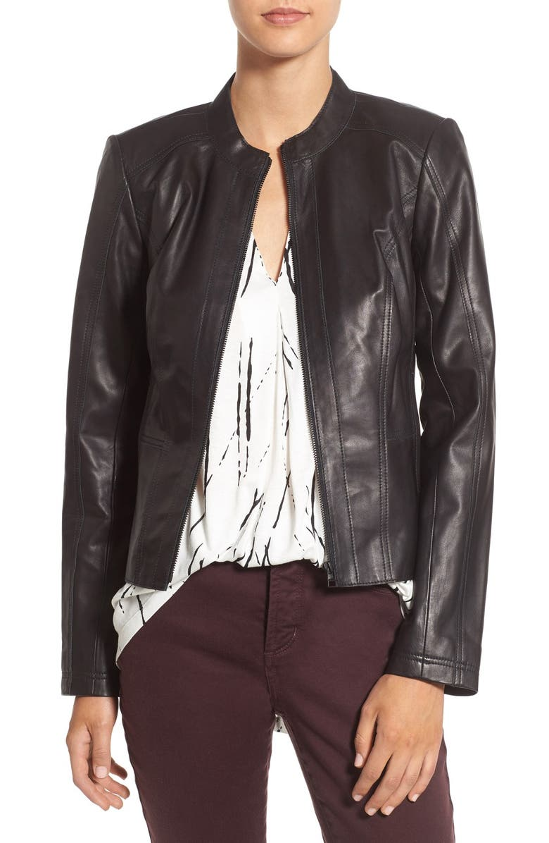 HALOGEN<SUP>®</SUP> Raw Edge Pieced Leather Jacket, Main, color, 001