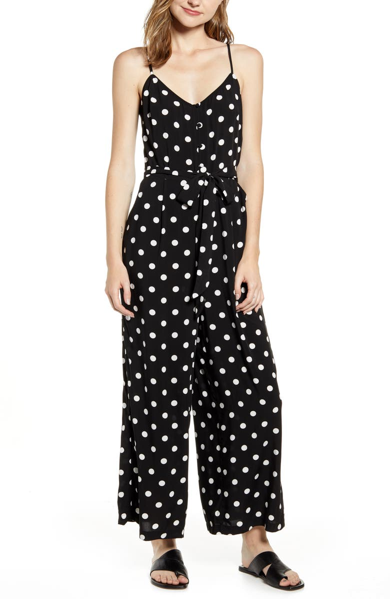 J.CREW Polka Dot Strappy Wide Leg Jumpsuit, Main, color, 001