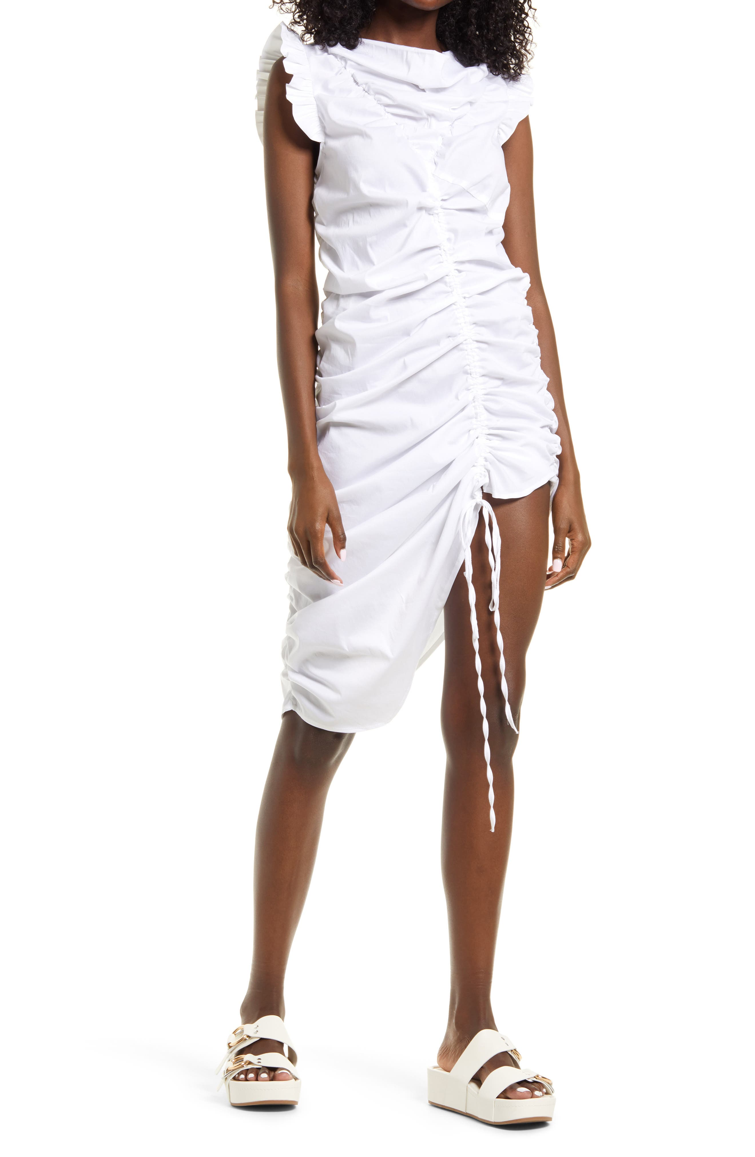 Cowl Neck Ruched Dress