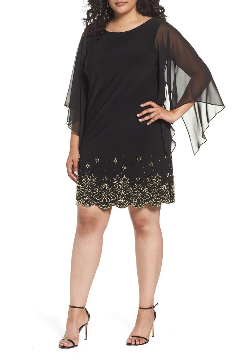 XSCAPE Embellished Chiffon Shift Dress, Main, color, 003