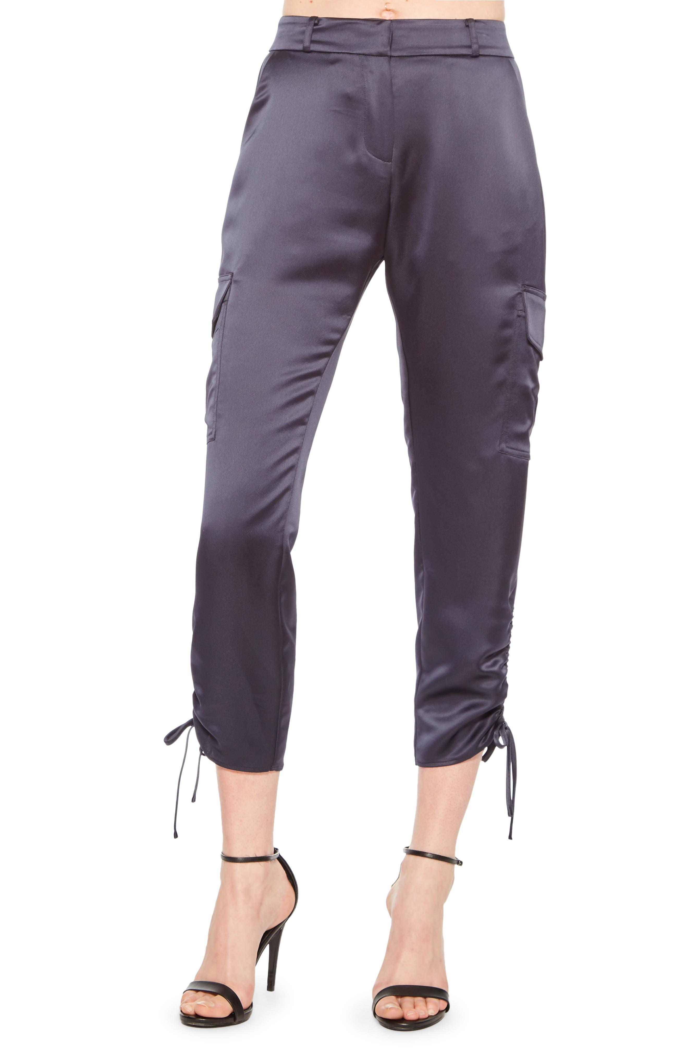 Parker Emerson Ruched Crop Cargo Pants, Blue
