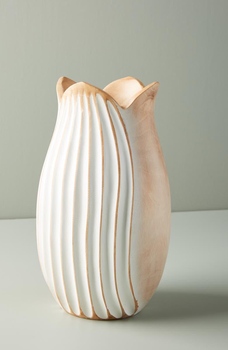 ANTHROPOLOGIE Medium Lotus Mango Wood Vase, Main, color, 650
