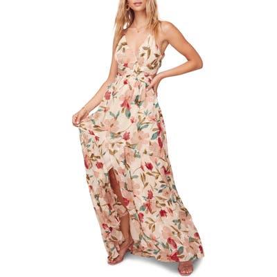 Astr The Label Sleeveless Floral Print Maxi Dress, Ivory