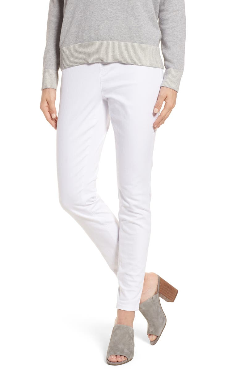 EILEEN FISHER Stretch Organic Cotton Denim Skinny Pants, Main, color, WHITE