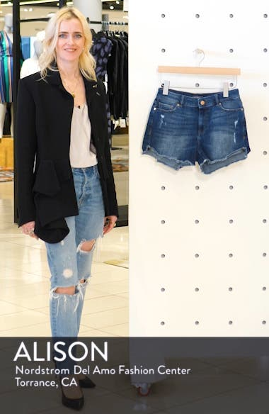 Karlie Cutoff Denim Boyfriend Shorts, sales video thumbnail