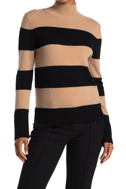 Image of Magaschoni Striped Mock Neck Cashmere Sweater