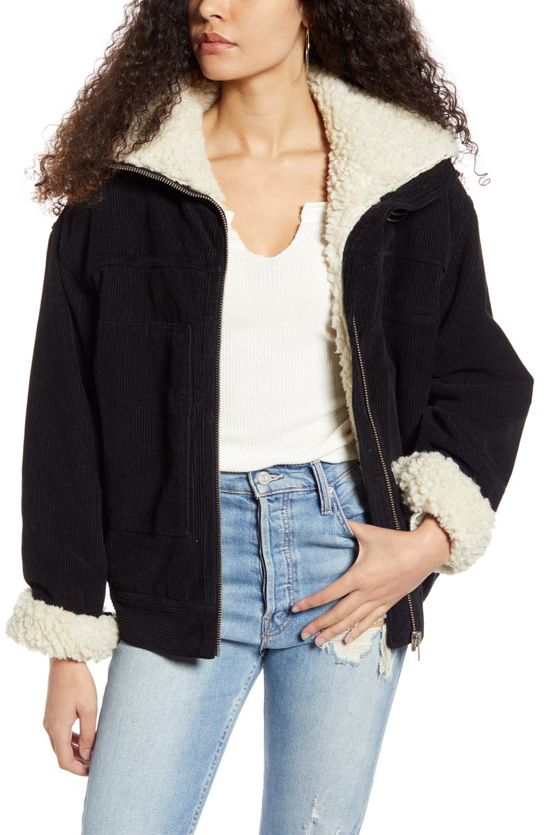 BDG URBAN OUTFITTERS Free People Corduroy Utility Jacket, Main, color, BLACK