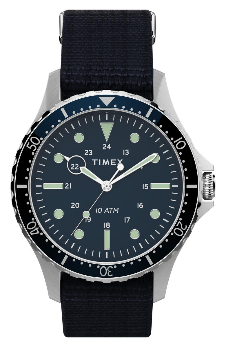 TIMEX<SUP>®</SUP> Navi XL NATO Strap Watch, 41mm, Main, color, BLUE/ SILVER