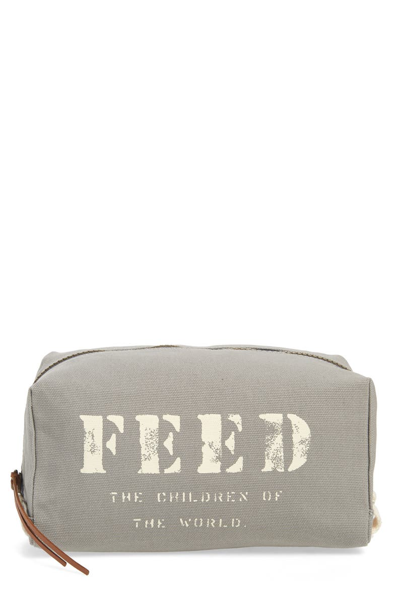 FEED Canvas Cosmetics Bag, Main, color, SLATE