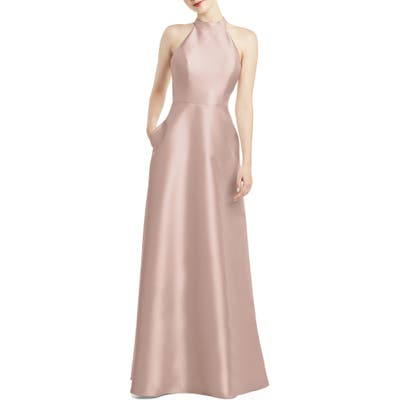 Alfred Sung Halter Style Satin Twill A-Line Gown, Pink