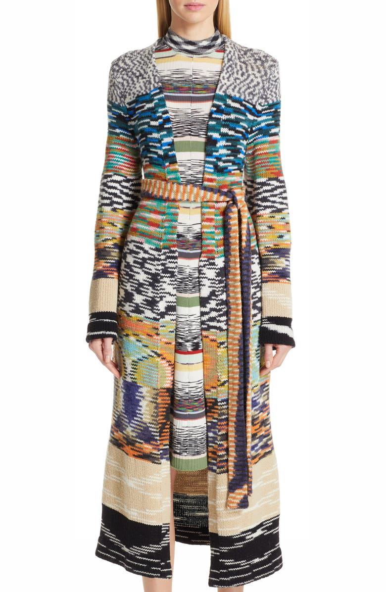 MISSONI Patchwork Long Cashmere Blend Cardigan, Main, color, BLACK