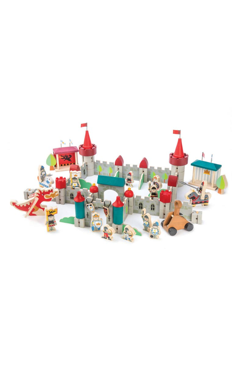 TENDER LEAF TOYS Wooden Royal Castle Set, Main, color, GREY