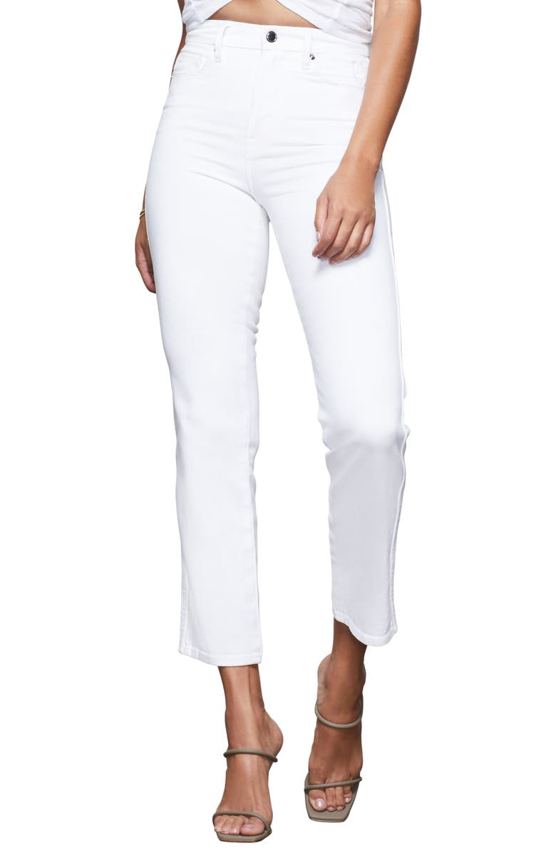 GOOD AMERICAN Good Curve Straight Jeans, Main, color, WHITE011