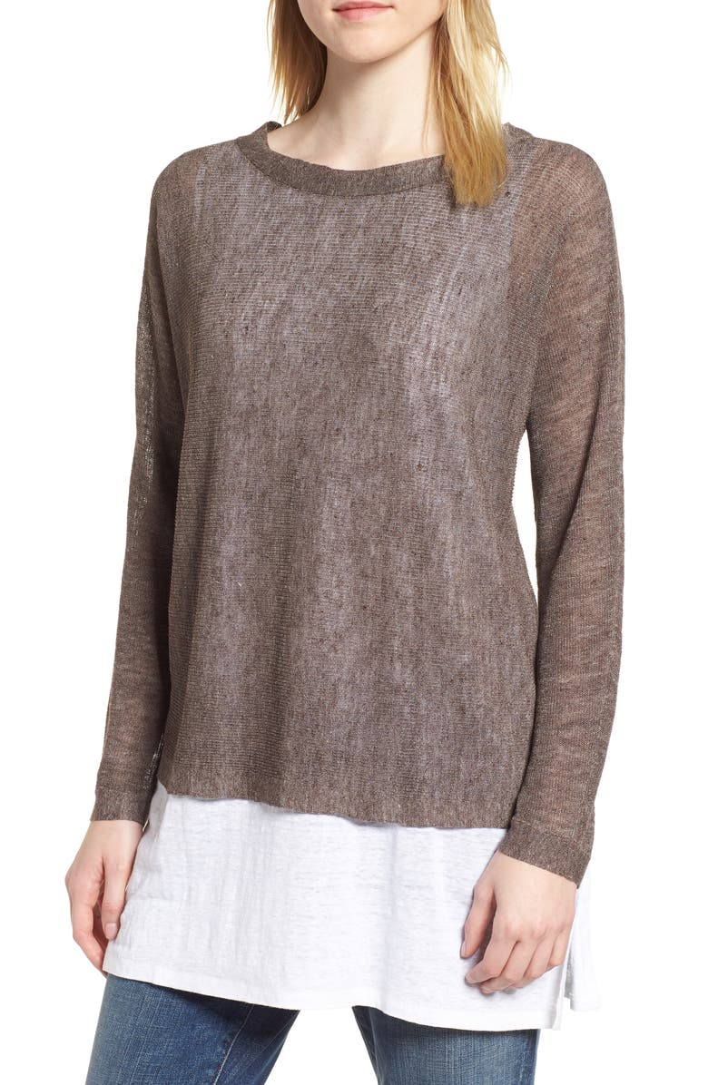 EILEEN FISHER Linen Blend Sweater, Main, color, 024