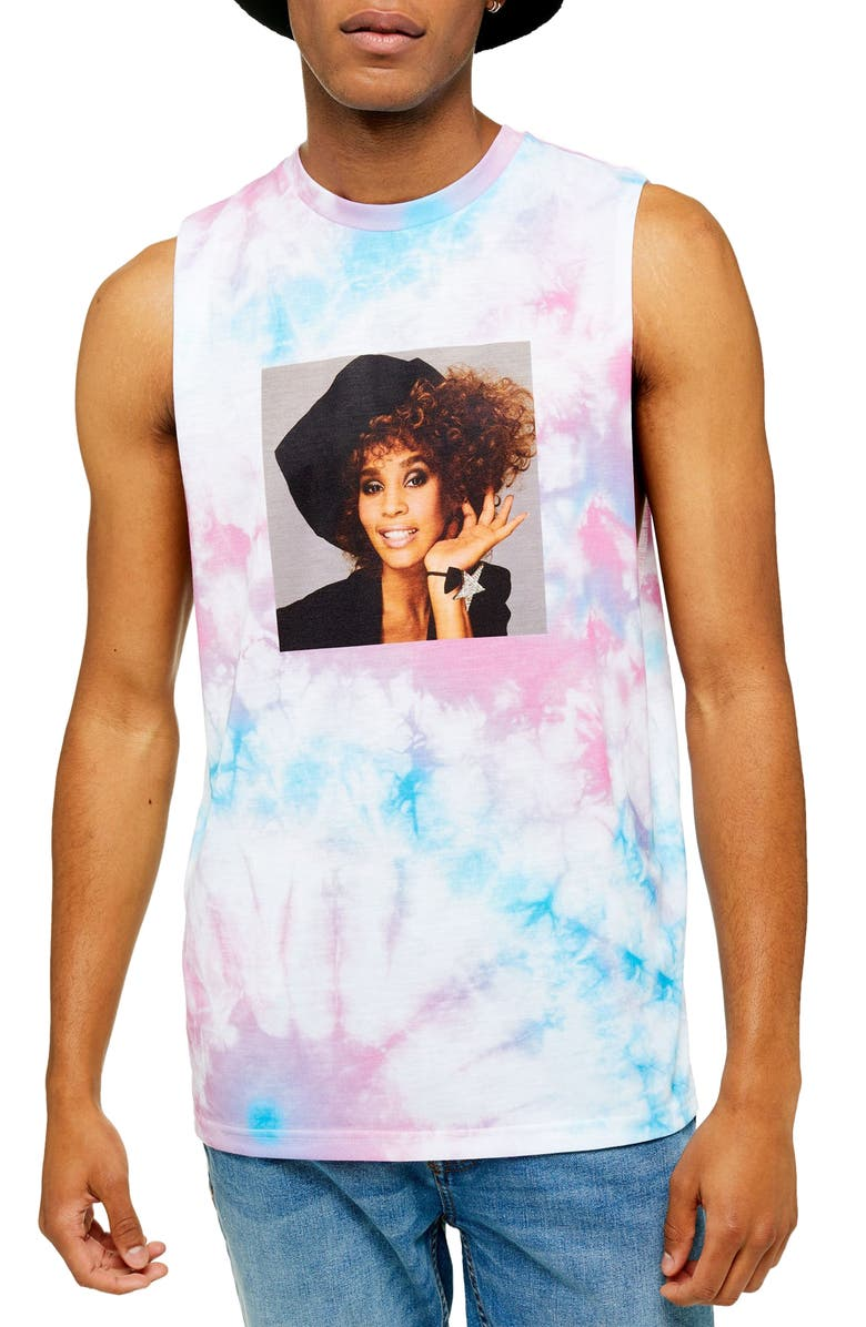 TOPMAN Whitney Houston Tie Dye Sleeveless T-Shirt, Main, color, WHITE MULTI
