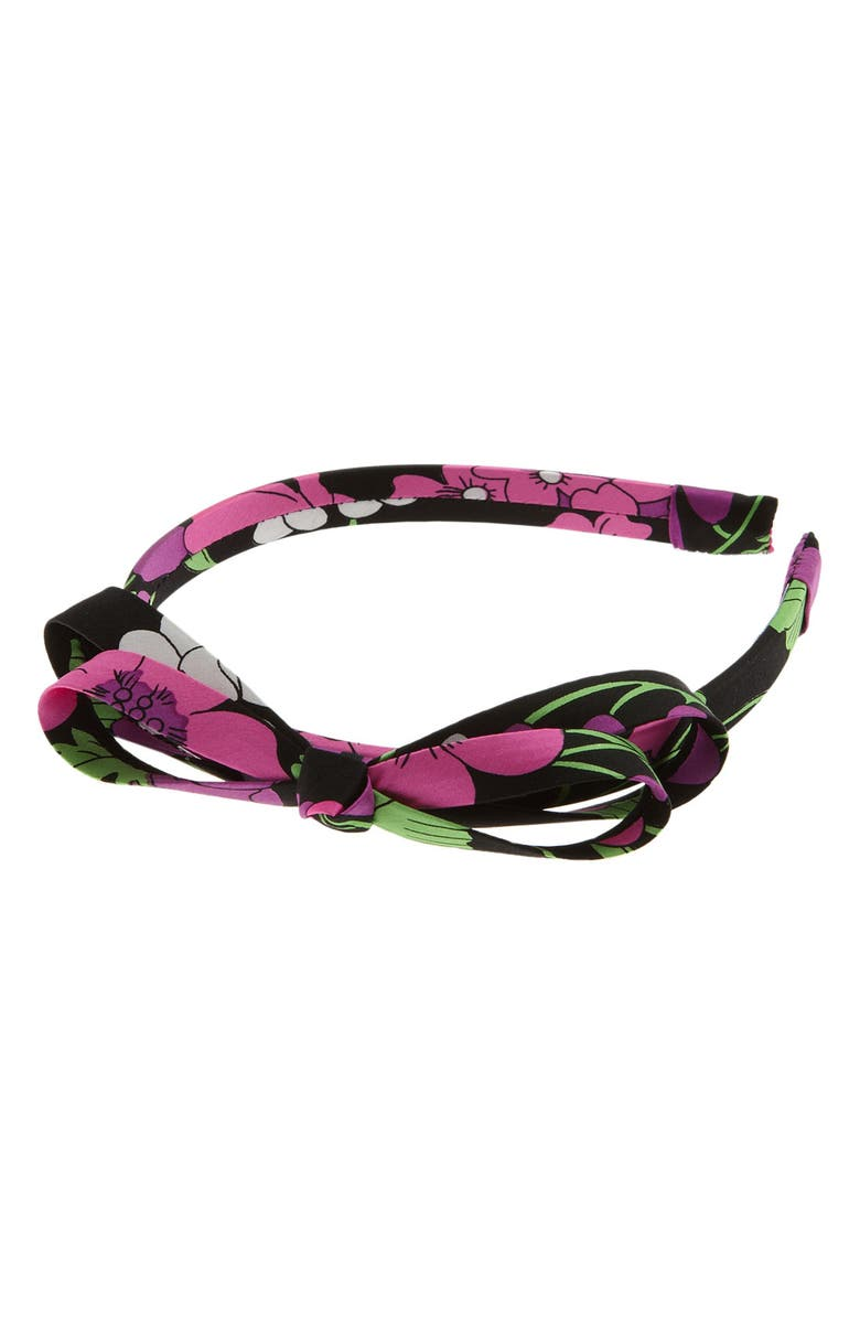 L. ERICKSON 'Double Loop' Bow Headband, Main, color, FOX GLOVE BLACK