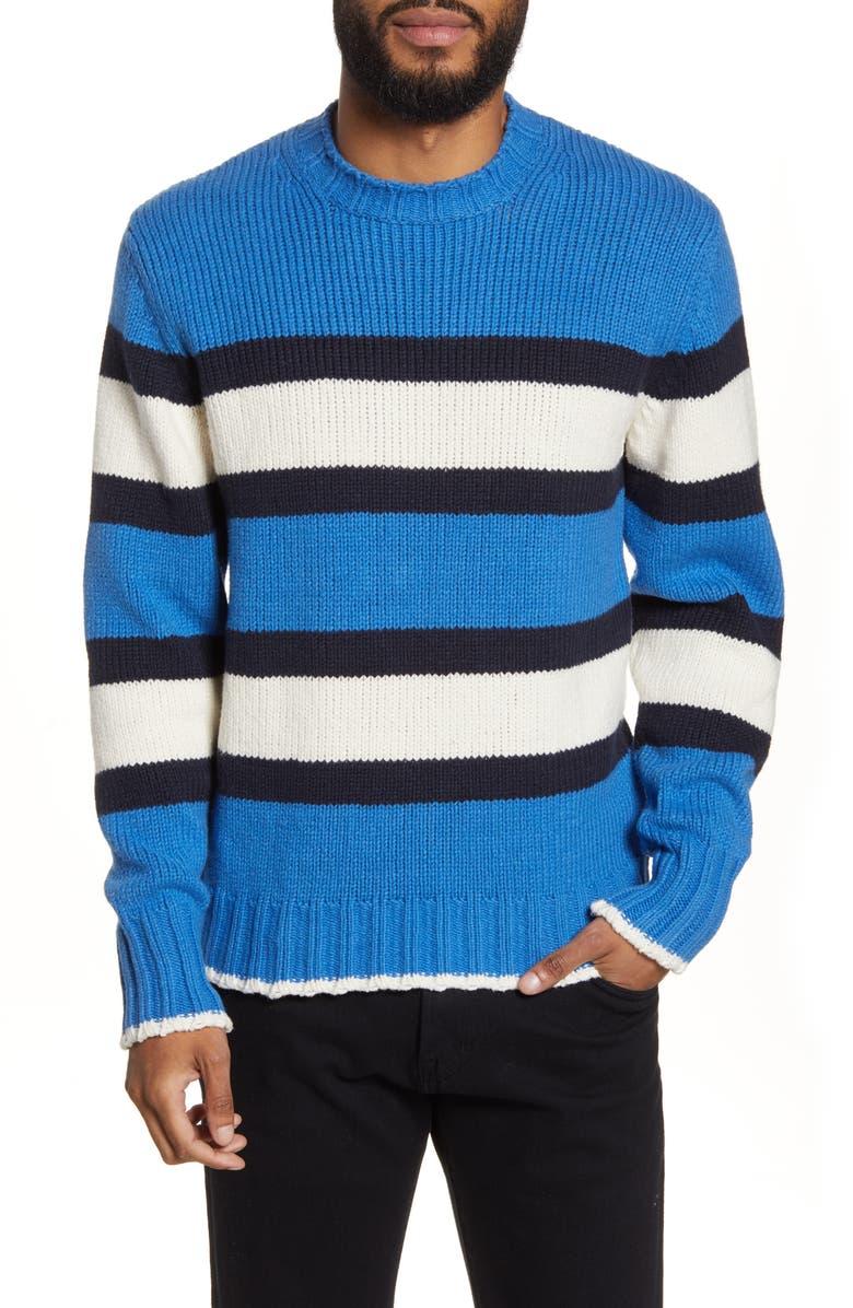 OFFICINE GÉNÉRALE Slim Fit Stripe Crewneck Sweater, Main, color, NAVY BLUE WHITE
