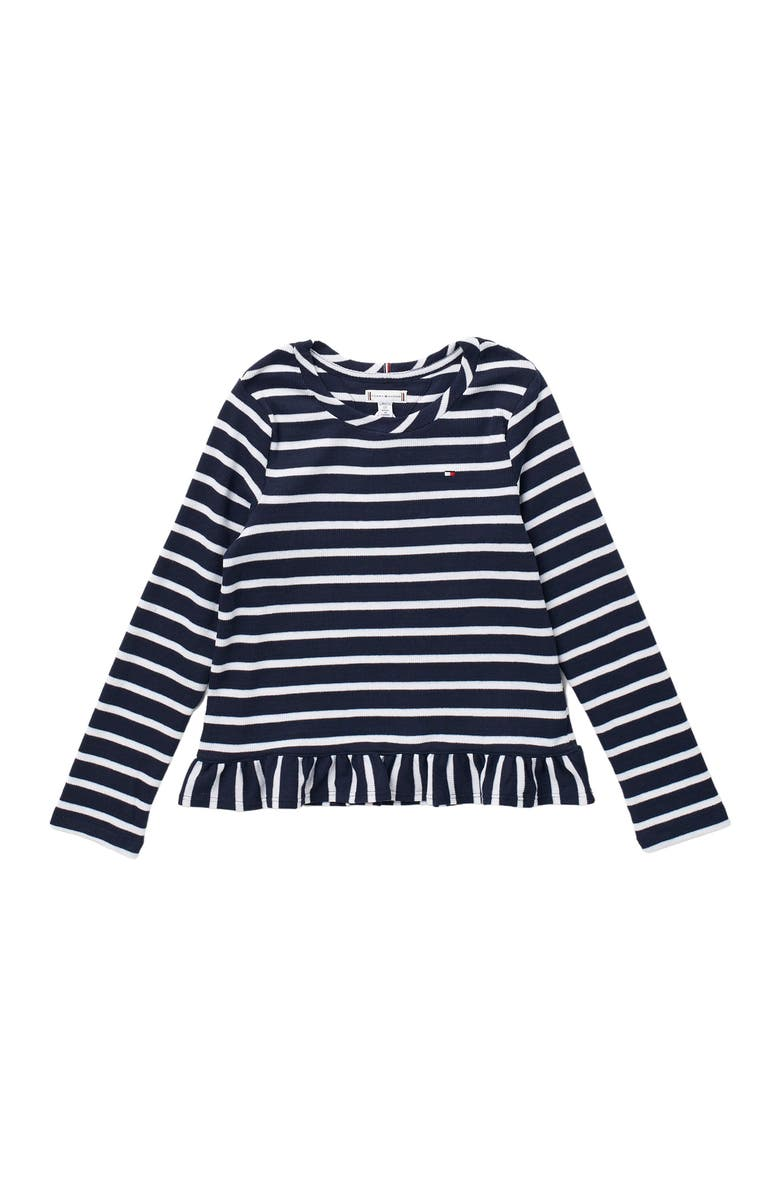 TOMMY HILFIGER Ruffle Knit Top, Main, color, NAVY BLAZER