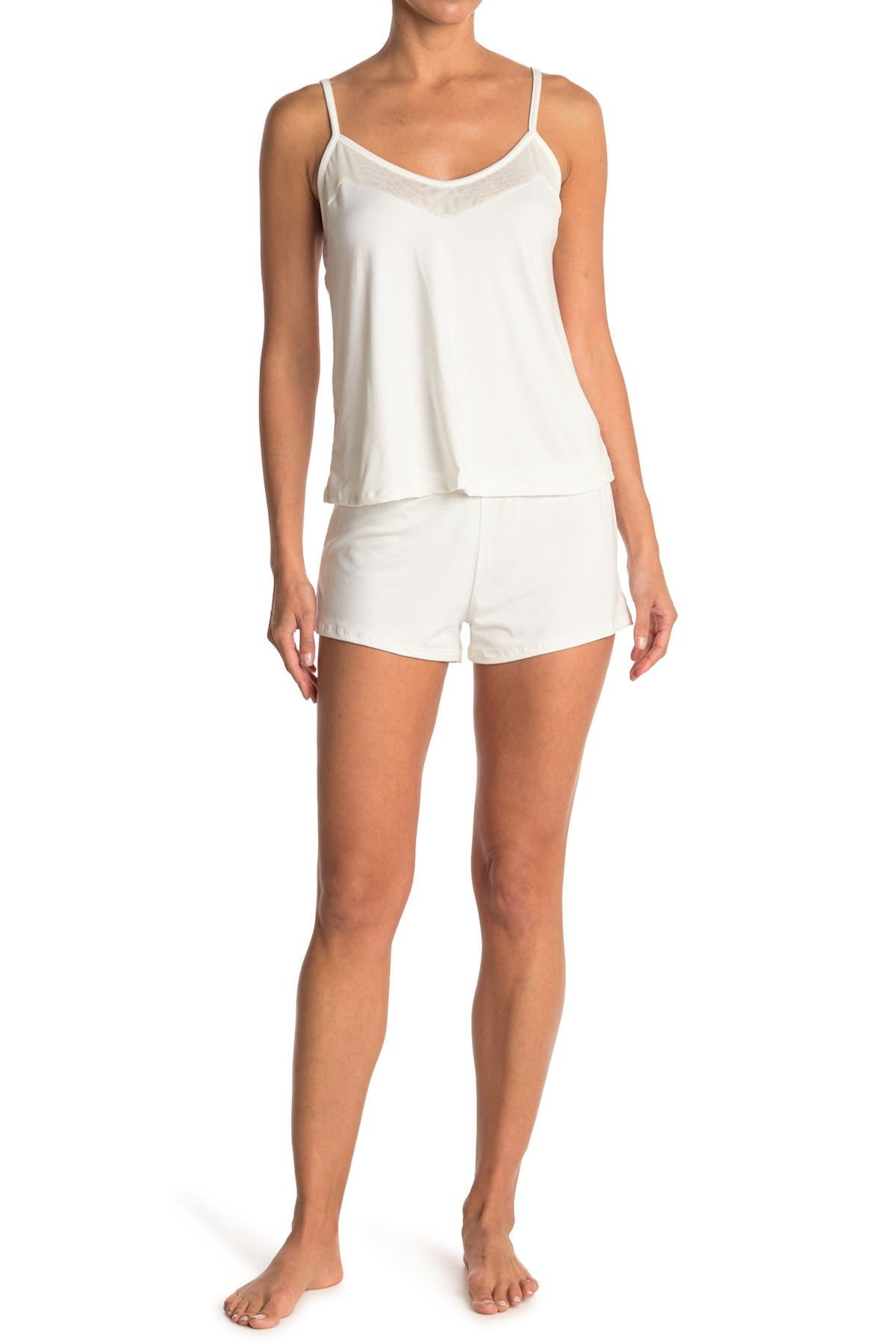 Image of COZY ROZY Mesh Camisole + Shorts 2-Piece Pajama Set