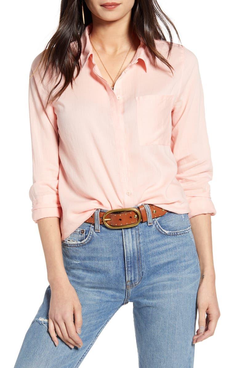 TREASURE & BOND Drapey Classic Shirt, Main, color, PINK BUD