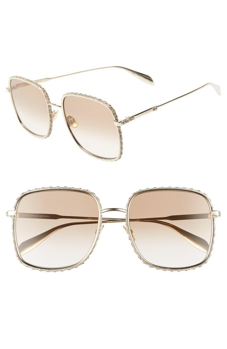 ALEXANDER MCQUEEN 57mm Gradient Square Sunglasses, Main, color, GOLD/ BROWN GRADIENT