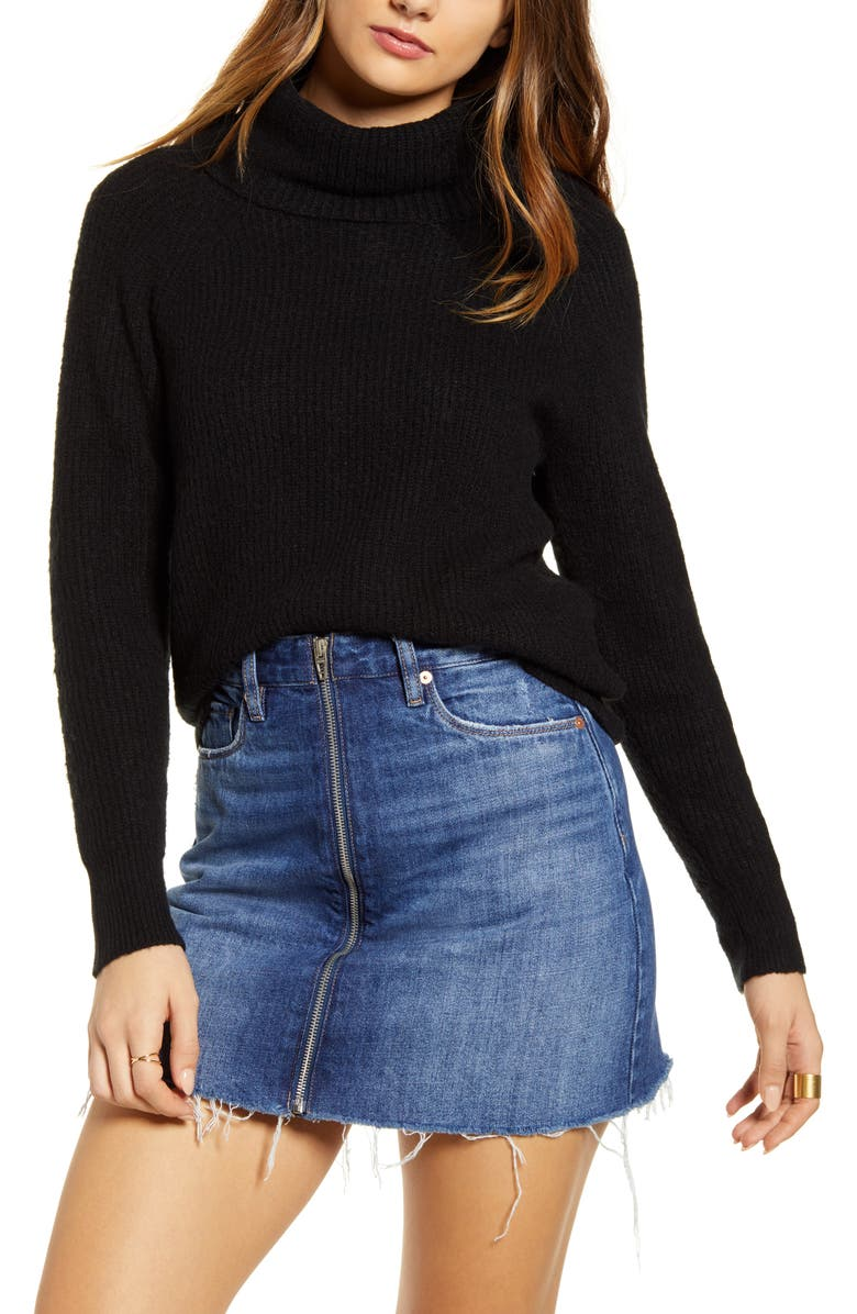 BP. Cozy Ribbed Turtleneck Sweater, Main, color, BLACK