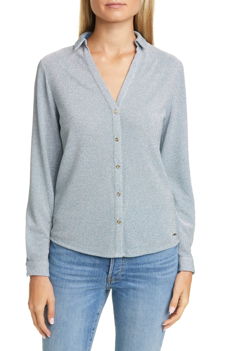 TED BAKER LONDON Colour by Numbers Castelo Metallic Knit Shirt, Main, color, LIGHT BLUE