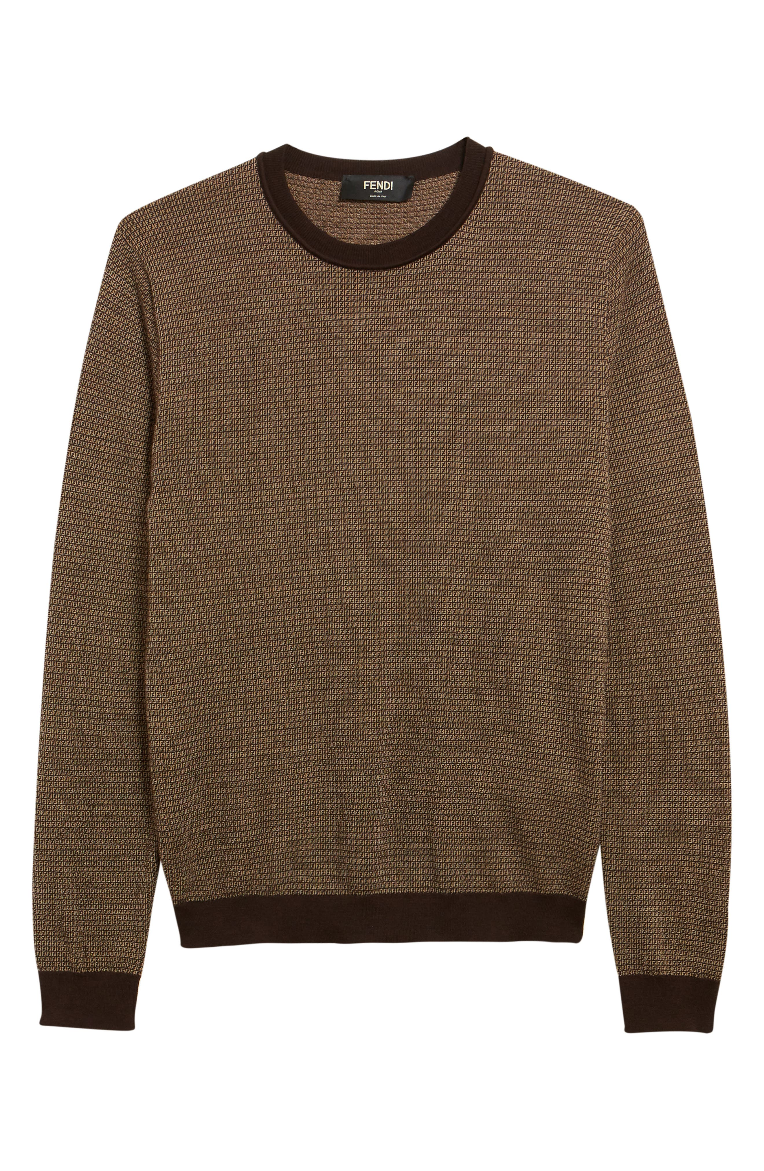 Fendi offers a subtler take on their iconic FF logo with this luxe crewneck sweater made from soft and cozy wool. Style Name: Fendi Micro Ff Logo Wool Sweater. Style Number: 5944883. Available in stores.