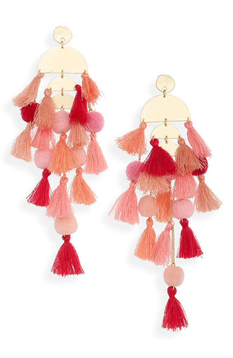 STELLA + RUBY Calypso Tassel Earrings, Main, color, GOLD/ CORAL