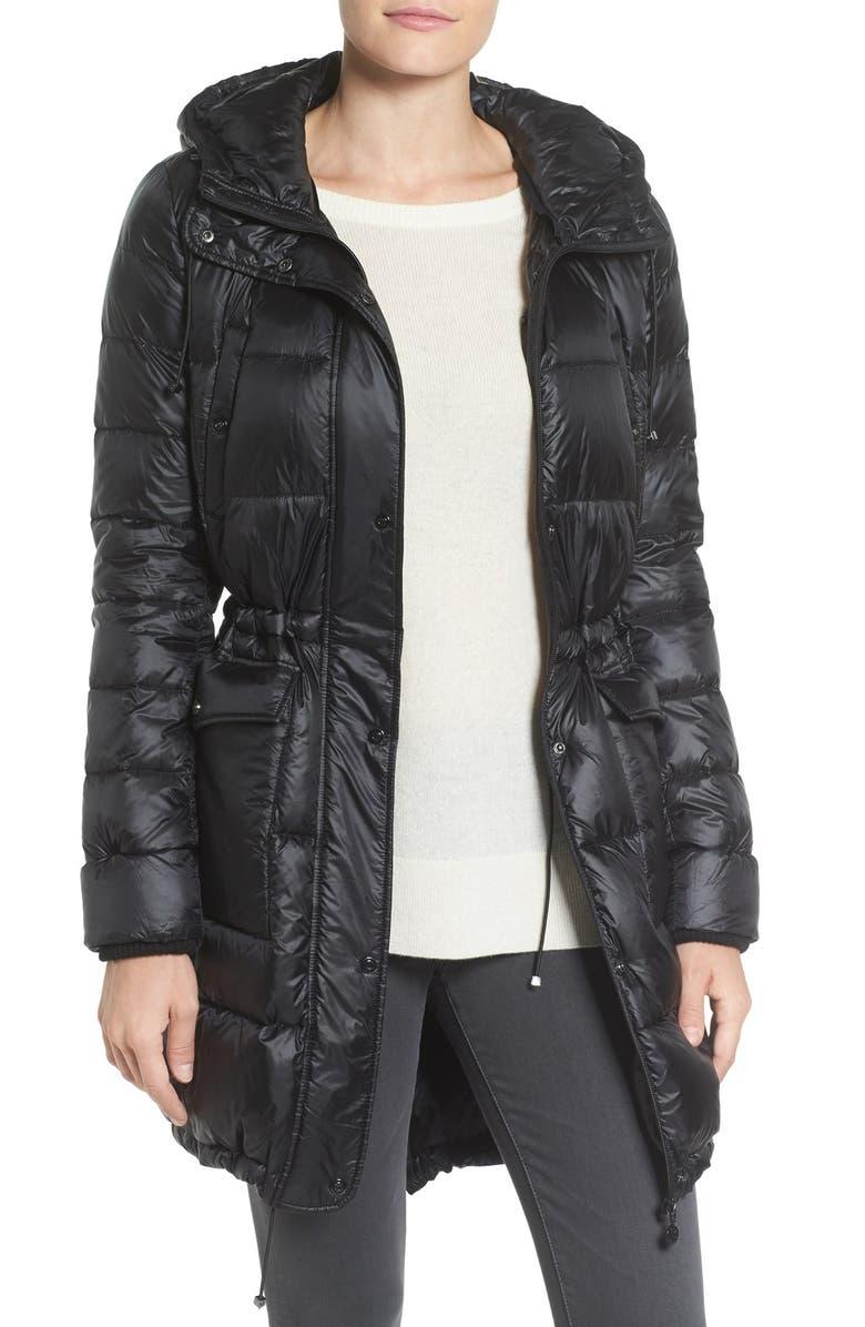BERNARDO Packable Down & PrimaLoft<sup>®</sup> Fill Hooded Coat, Main, color, 001
