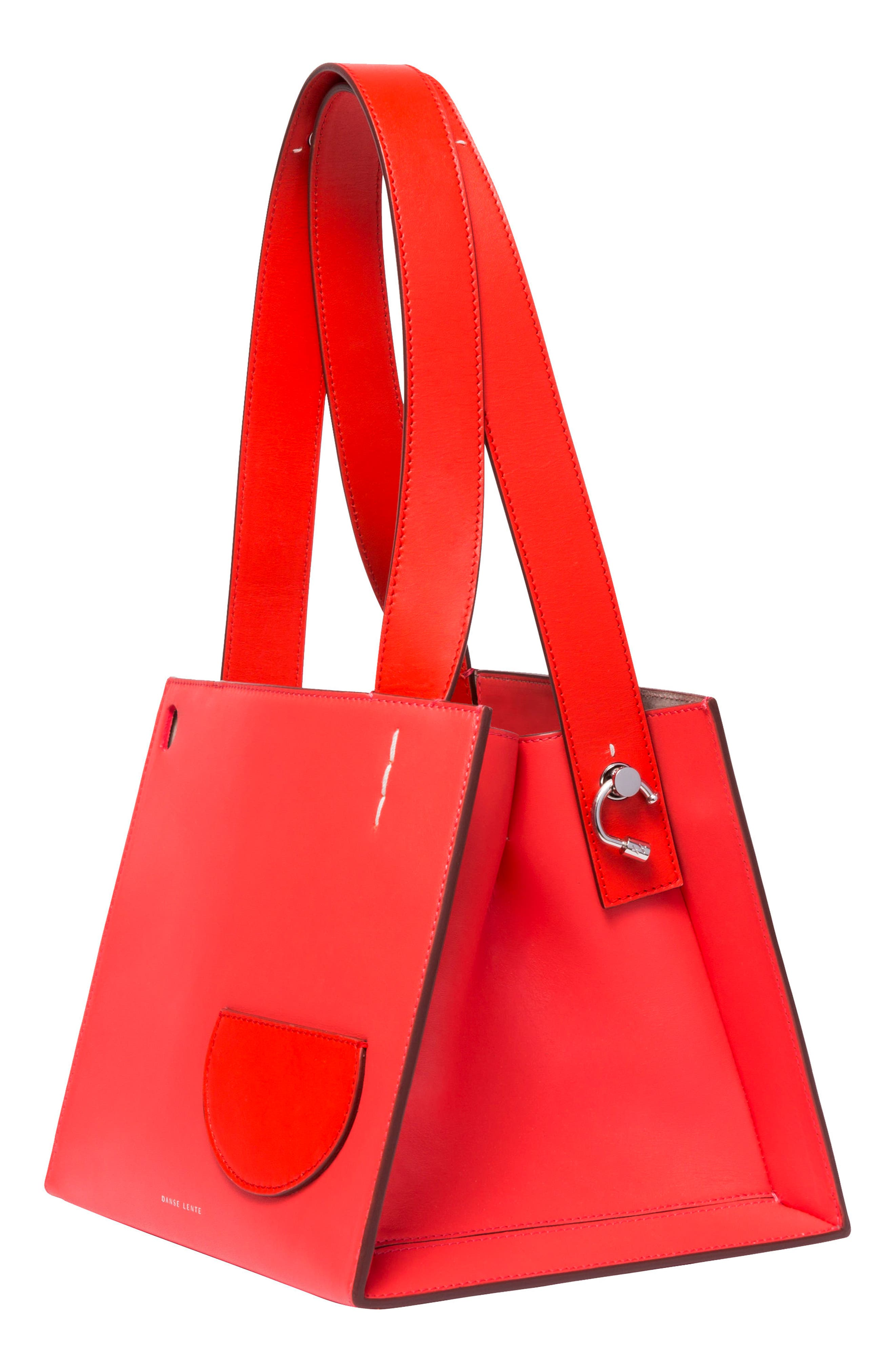 ,                             Margot Leather & Genuine Shearling Tote Bag,                             Alternate thumbnail 9, color,                             CORAL