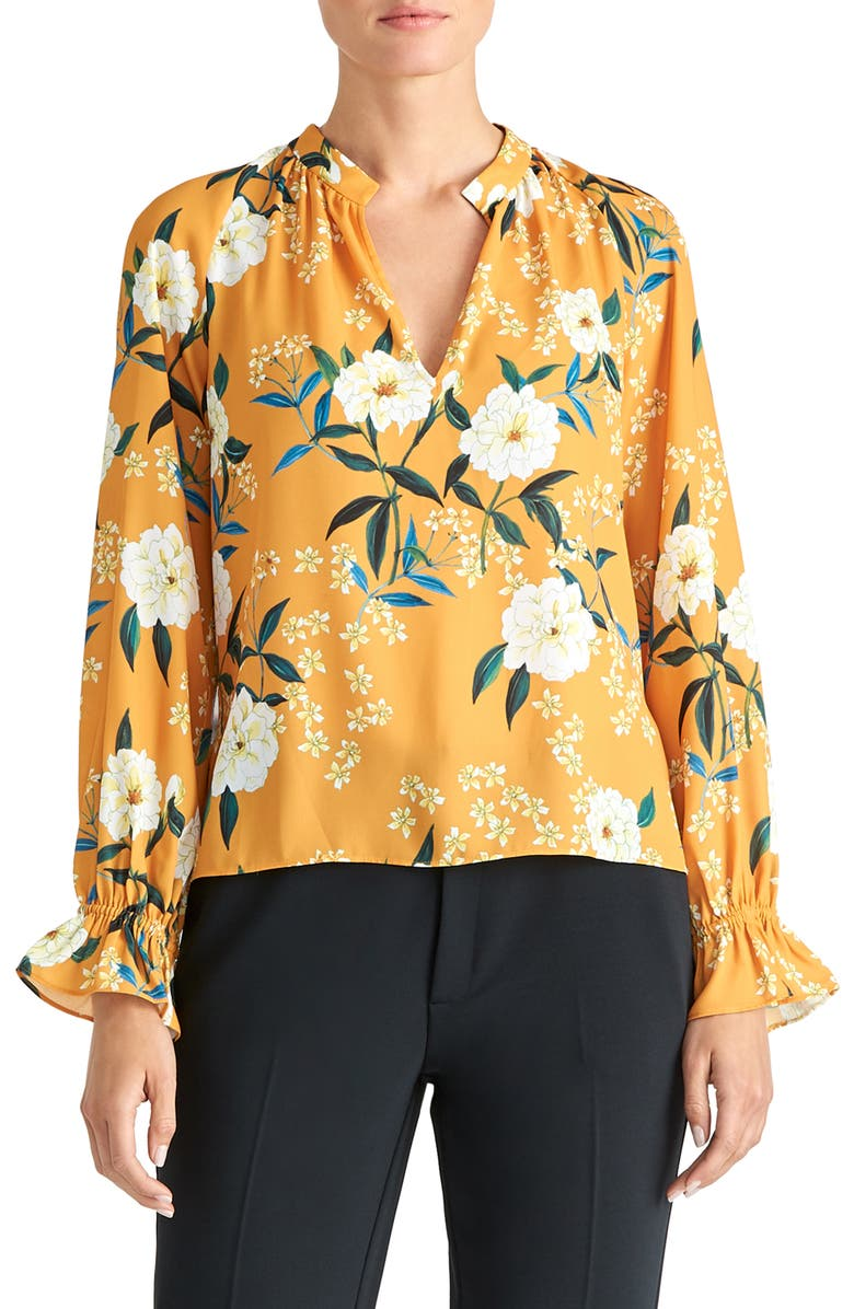 RACHEL ROY COLLECTION Floral Poet Blouse, Main, color, GOLDENROD COMBO