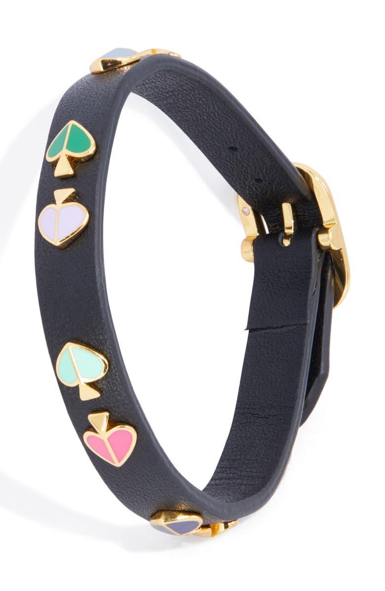 KATE SPADE NEW YORK heritage spade studded leather bracelet, Main, color, BLACK MULTI