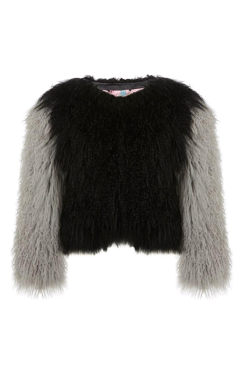 CHARLOTTE SIMONE 'Classic Fuzz' Genuine Mongolian Lamb Fur Bolero, Main, color, 001