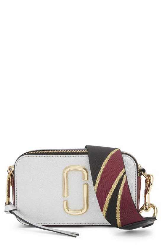 Marc Jacobs The Snapshot Leather Crossbody Bag In Silver Multi