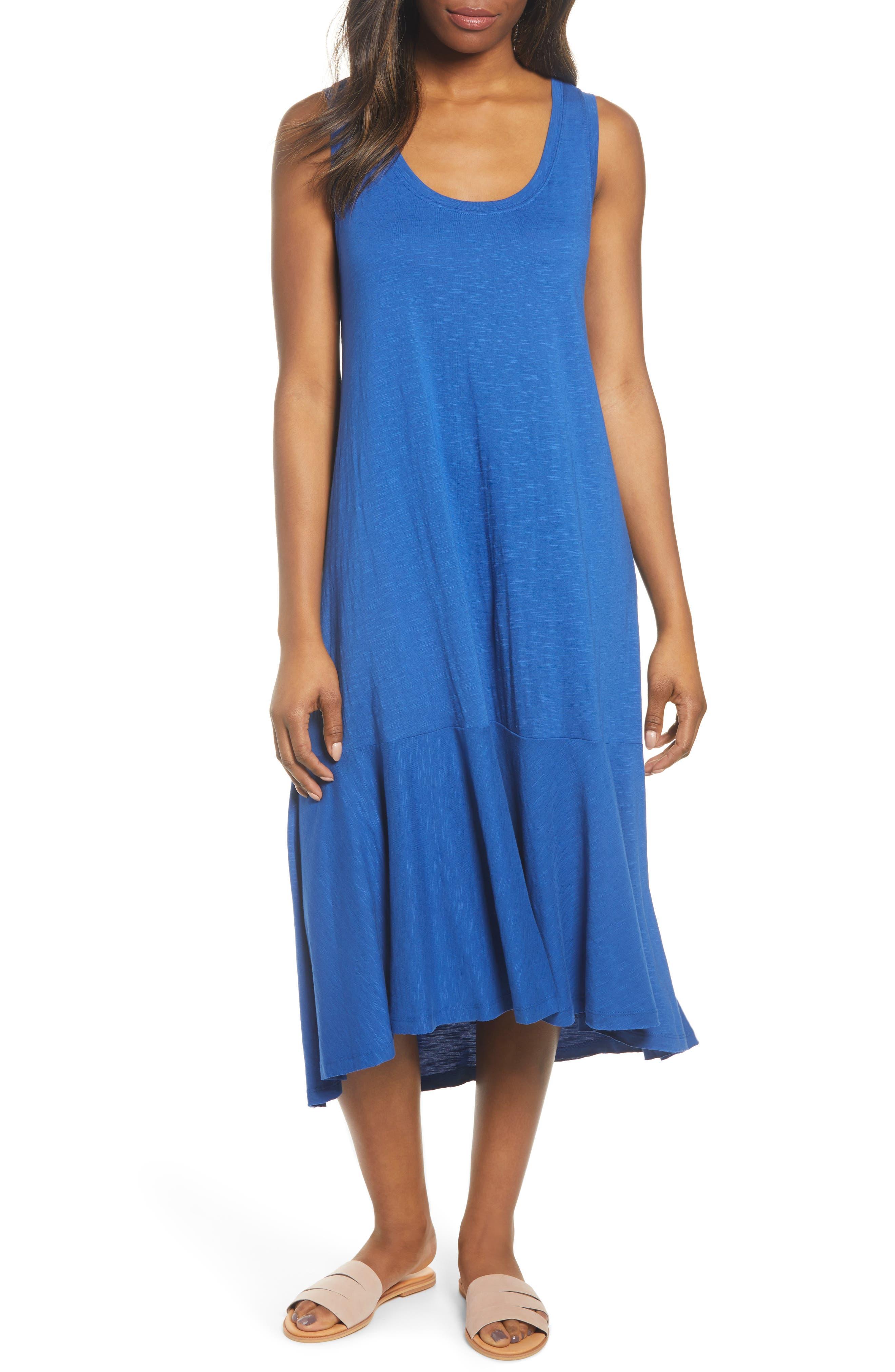 Petite Caslon Drop Waist Jersey Dress, Blue