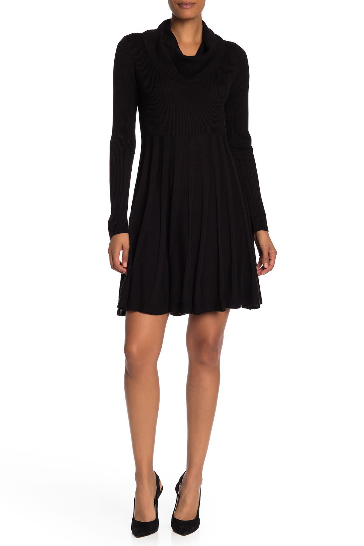 Image of ZNDU Modern American Designer Cowl Neck Fit & Flare Sweater Dress