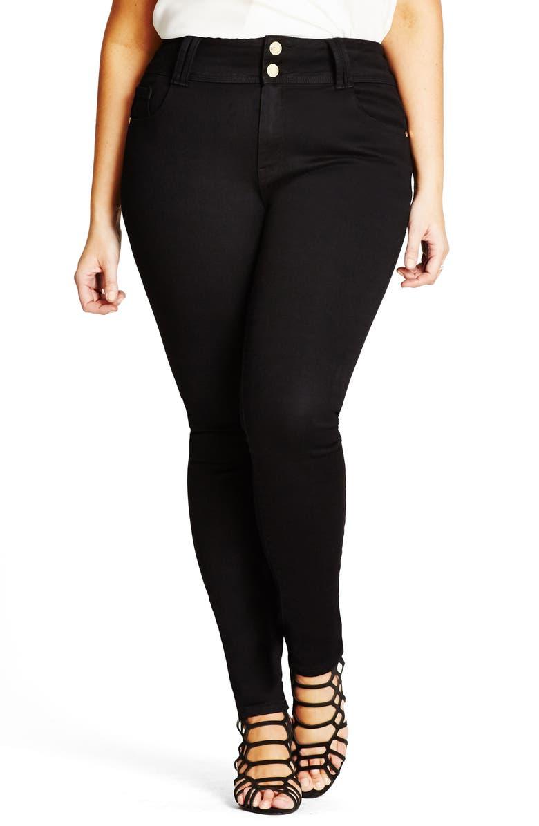 CITY CHIC Asha High Waist Skinny Jeans, Main, color, BLACK