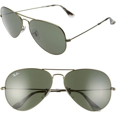 Ray-Ban 62mm Aviator Sunglasses - Sand Transparent Green